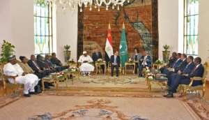 A handout picture provided by the Egyptian presidency President Abdel Fattah al-Sisi (C) hosting African leaders for summit talks on the upheaval in Sudan and Libya on Tuesday. By Handout (Egyptian Presidency/AFP)