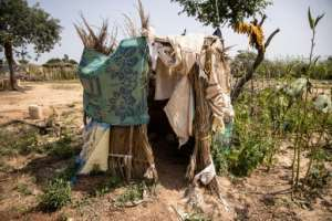 A latrine for displaced people.  By OLYMPIA DE MAISMONT (AFP/File)
