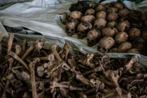 A pit on the outskirts of Kigali discovered last year and containing victims' bones and skulls bears witness to some of the horror of the Rwandan genocide. By Yasuyoshi CHIBA (AFP/File)