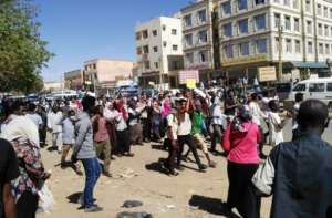 A protest in the Sudanese city of Omdurman on Sunday.  By STRINGER (AFP/File)