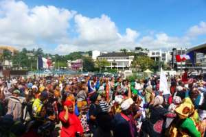 A protest on Tuesday in Mamoutzou, the biggest city on the French Indian Ocean island of Mayotte.  By Ornella LAMBERTI (AFP)