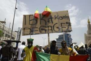 A protest placard at a rally in Bamako on June 5 reads: