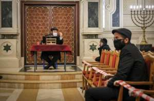 A rabbi gives a sermon at the synagogue of Beth El in the Moroccan city of Casablanca on January 5, 2021.  By FADEL SENNA (AFP/File)