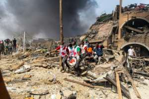 A Red Cross official said they were still recovering bodies from the scene.  By Benson IBEABUCHI (AFP)