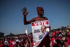 A supporter of MDC-Alliance (Movement for Democratic Change-Alliance) leader and opposition presidential candidate at a closing campaign rally in Harare.  By MARCO LONGARI (AFP)