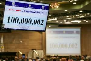 A screen displaying the population count at the Egyptian Ministry of Planning headquarters in the capital Cairo.  By Mohamed el-Shahed (AFP)