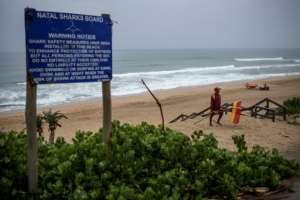 A shark warning notice board at Umgababa Beach near Durban.  By Michele Spatari (AFP)