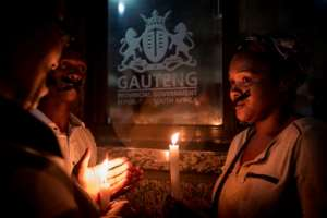 A vigil outside the offices of the Gauteng health department, which cancelled its contract with Esidimeni hospital