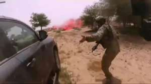 A video screen grab  purportedly showing the October 4, 2017 ambush of American and Nigerien soldiers in Niger..  By Handout (Nashir News Agency/AFP/File)