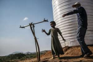 A water tap at the Chagni camp.  By EDUARDO SOTERAS (AFP)