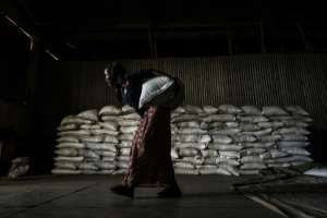 A woman in Alamata carries a sack of wheat during food distribution organised by the Ethiopian government.  By EDUARDO SOTERAS (AFP)