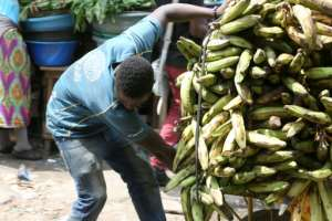 A young boy from Togo hauls a load of bananas at the Mont Bouet market in Libreville.  By STEVE JORDAN (AFP/File)