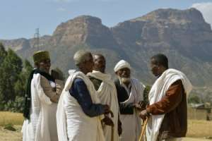 Abiy accepted a 2002 UN boundary ruling that would split the ethnic Irob community in two. Here elders from both sides hold a reconciliation meeting.  By MICHAEL TEWELDE (AFP)