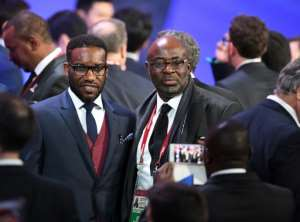 Africa legend Jay-Jay Okocha (L) is critical of Ghana coach Kwesi Appiah.  By Yuri KADOBNOV (AFP)