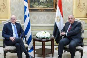 After the talks in Libya, Dendias (L) flew to Cairo, where he met his Egyptian counterpart Sameh Shoukry.  By - (Egytian Foreign Ministry/AFP)