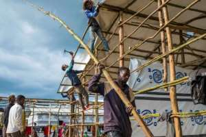 Aid workers warn of dire conditions and a shortage of shelter with the dispossessed seeking refuge from Ethiopia's seasonal rains in half-built structures.  By Maheder HAILESELASSIE TADESE (AFP)