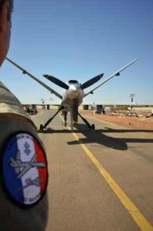 Air power: An armed Reaper drone at Barkhane's military base in Niamey, Niger.  By Daphné BENOIT (AFP)