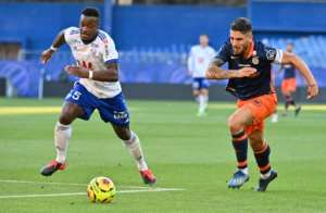 Algerian forward Andy Delort (right) scored twice in Montpellier's 4-3 win over Strasbourg.  By Pascal GUYOT (AFP)