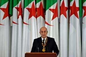 Algerian President Abdelmadjid Tebboune at his swearing-in ceremony on December 19.  By RYAD KRAMDI (AFP)