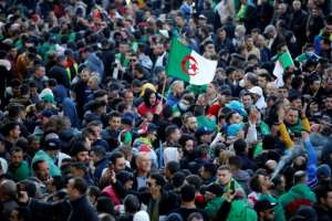 Algerians rally on Tuesday marking the start of Hirak protests two years earlier.  By - (AFP)