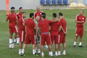 Algeria's players attend a training session at the Petro Sports Stadium, in Cairo, on July 18, 2019, on the eve of the 2019 Africa Cup of Nations final during which they will face Senegal.  By Khaled DESOUKI (AFP)