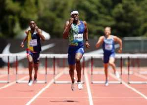 American Rai Benjamin on the way to victory in the men's 400m hurdles at the Prefontaine Classic Diamond League meeting.  By Lachlan Cunningham (GETTY IMAGES NORTH AMERICA/AFP)