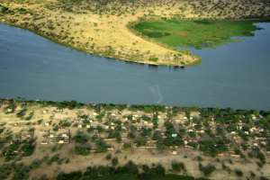An aerial picture of Lake Chad, around 200kms from Chad capital city N'Djamena in 2016.  By SIA KAMBOU (AFP/File)