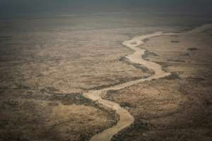 An aerial view of the Moura wadi between the eastern towns of Abeche and Farchana, near Hadjer Hadid. The rains can turn wadis into fast-flowing rivers -- but not all year round. By Amaury HAUCHARD (AFP)