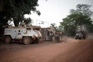 An armoured vehicle of the UN mission MINUSCA, guarding access to Bambari's hospital.  By FLORENT VERGNES (AFP/File)