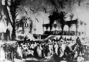An archive photo from 1869 shows the lavish inauguration ceremony for the Suez Canal, even attended by Empress Eugenie, wife of Napoleon III.  By - (AFP/File)