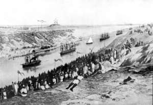 An archive photo from 1869 shows an unsigned painting of the inauguration of the Suez Canal.  By - (AFP/File)