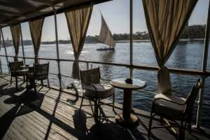 An Egyptian 'felucca' sailing boat on the Nile at Aswan; before the dam was built, Egypt was for millennia at the mercy of the seasonal rise and fall of the river.  By Khaled DESOUKI (AFP)