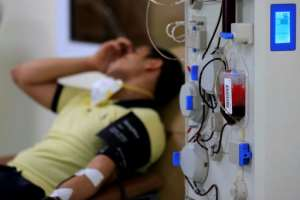 An Egyptian man who recovered from Covid-19 donates blood at the National Blood Transfusion centre in Cairo.  By Khaled DESOUKI (AFP/File)