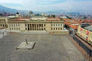 An empty Bolivar square in Bogota, after Colombian President Ivan Duque announced mandatory preventive isolation from March 24 to April 13.  By Raul ARBOLEDA (AFP)