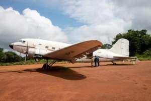 An old twin-engine DC2 plane at the Shilatembo site, symbolising Lumumba's last flight.  By Samir Tounsi (AFP)