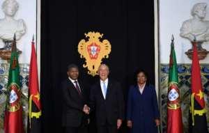 Angolan President Joao Lourenco paid a landmark visit to Lisbon in November meeting Portuguese president Marcelo Rebelo de Sousa (C).  By FRANCISCO LEONG (AFP/File)