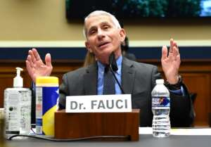 Anthony Fauci, director of the National Institute of Allergy and Infectious Diseases, testifies at a hearing on the Trump Administration's Response to the COVID-19 Pandemic.  By KEVIN DIETSCH (POOL/AFP)