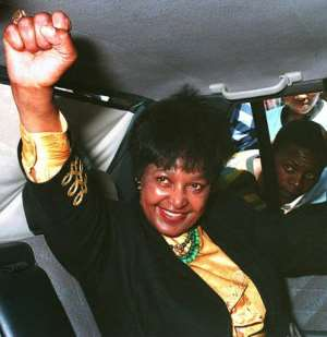 Anti-apartheid icon Winnie Madikizela-Mandela arrives to vote on 27 April, 1994, in South Africa's first all-race elections.  By Harold GESS (AFP/File)