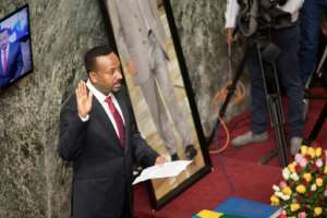 April 2 2018: Abiy Ahmed takes the oath of office as prime minister.  By ZACHARIAS ABUBEKER (AFP/File)