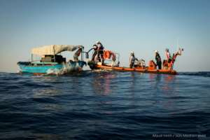 Aquarius has helped almost 30,000 migrants at sea who have attempted the perilous journey across the Mediterranean.  By Maud VEITH (SOS MEDITERRANEE/AFP/File)