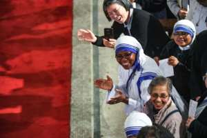 Around 400 people welcome Pope Francis to the cathedral in Rabat. By FADEL SENNA (AFP)