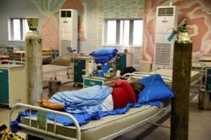 Around half the beds are empty in the Yaba hospital as infection rates have stabilised in Nigeria's second wave of coronavirus.  By PIUS UTOMI EKPEI (AFP)