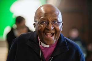 Archbishop Emeritus and Nobel Laureate Desmond Tutu celebrated the anniversary at an exhibition in Cape Town.  By RODGER BOSCH (AFP)