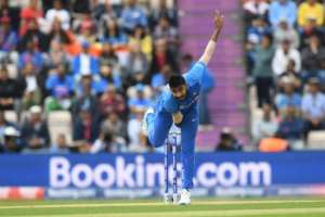 At the double -- India's Jasprit Bumrah took two key wickets.  By Dibyangshu SARKAR (AFP)