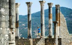 At the end of the 17th century, Sultan Moulay Ismail sent thousands of slaves to plunder Volubilis's marble columns for the construction of his palace in Meknes.  By FADEL SENNA (AFP)