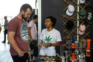 Attendees were treated to a world of cannabis-derived products, from medicinal oils, dog treats and even pure hemp clothing.  By Wikus DE WET (AFP)