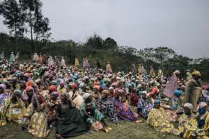 Banyamulenge women gathered for the funeral.  By ALEXIS HUGUET (AFP)