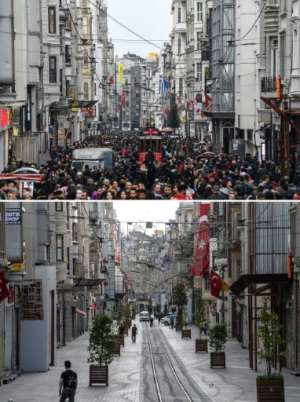 Before and after curfew: a combination picture shows the difference a four-day curfew makes in Istanbul's Istiklal avenue.  By Ozan KOSE (AFP)