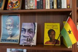 Books by author Kwame Nkrumah are displayed on a shelf in the Library of Africa and the African Diaspora (LOATAD) in Accra.  By Nipah Dennis (AFP)