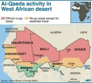 A map of Al-Qaeda activity in the West African desert.  By  (AFP/Graphic)